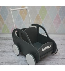 Žaislinis, medinis vežimėlis su vaiko vardu
