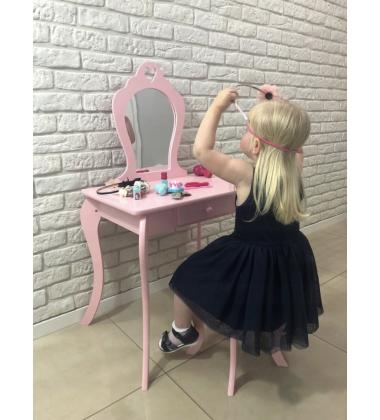 Vaikiškas Medinis Kosmetinis Staliukas