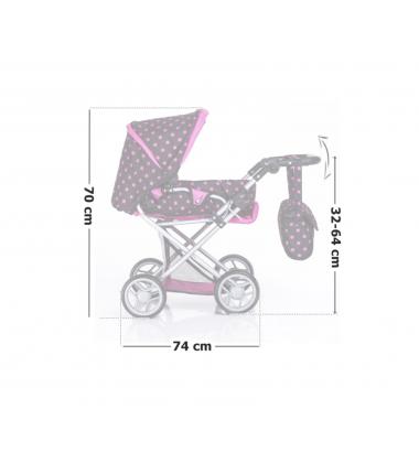 Vaikiška lėlė su vežimu, lova bei kitais priedais.