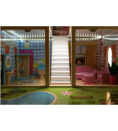 Medinis Lėlių Namas-2 su LED apšvietimu